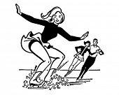 Ice Skaters - Retro Clipart Illustration