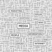 Media. Seamless vector pattern. Word collage. Vector illustration.
