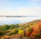 stock photo of kama  - Autumn calm river Kama at sunrise - JPG