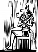 stock photo of anubis  - Woodcut style image a seated Egyptian God Anubis - JPG