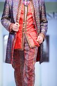 MOSCOW - NOVEMBER 4: Details of bright men suit on show of designer Slava Zaitsev in fashion house o