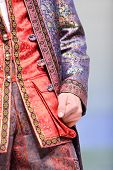 MOSCOW - NOVEMBER 4: Details of men vest and jacket on show of designer Slava Zaitsev in fashion hou