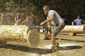 WEST POINT, CA - OCTOBER 6: Unidentified competitor in the men's chainsaw log cutting event at the L