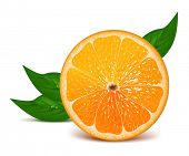 Juicy half of orange with leaves