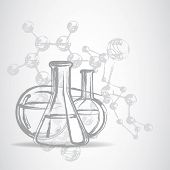 Laboratory glassware sketch eps 10 vector illustration