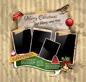Christmas Vintage scrapbook composition with old style distressed postage design elements and antiqu