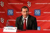 NEW YORK-OCT. 23: St. John's Red Storm head coach Joe Tartamella speaks to the media on October 23, 2012 at Carnesecca Arena, Jamaica, Queens, New York.