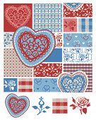 Large Seamless Floral Heart Pattern and Icons.  Use to create digital paper or print onto fabric for items such as bedding designs.