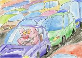 Pig stuck in a traffic jam. Painted on paper.