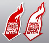 Special quick action offer fiery symbols.