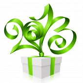 Vector green ribbon in the shape of 2013 and gift box. Symbol of New Year