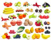 stock photo of exotic_food  - fruits and vegetable isolated on white background - JPG