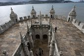LISBON - OCT 20: A section of the Belem Tower is shown on October 20, 2012 in Lisbon, Portugal. Also