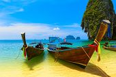 Travel landscape, beach with blue water and sky at summer. Thailand nature beautiful island and trad