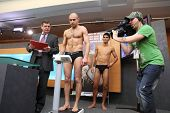 MOSCOW - JAN 12: Weighing boxers on press conference of World Series of Boxing between Dynamo Moscow
