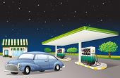 illustration of a house and a gas station in a dark night
