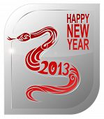 Happy New Year 2013 card with stylized snake.