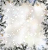 Brillante fondo de Navidad con marco de abeto