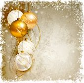 elegant Christmas background with gold and white evening baubles
