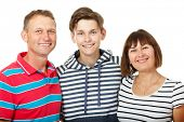 Mother, father with son teenager. Happy caucasian family having fun and smiling over white backgroun