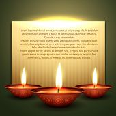 stock photo of diya  - beautiful diwali diya vector background with space for your text - JPG