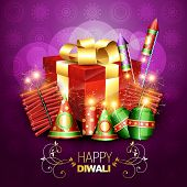 stylish diwali crackers with gift box design illustration