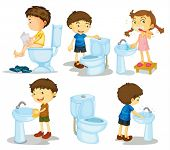 stock photo of female toilet  - illustration of a kids and bathroom accessories on a white background - JPG