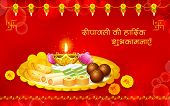 illustration of puja thali with holy festival object for Diwali wishes