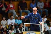 KAPOSVAR, HUNGARY - OCTOBER 5: Zdravko Hranic (referee) in action at a Middle European League volley