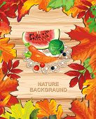 Autumn banner on wooden background with leaves. Happy Thanksgiving beautiful Retro card with Place f