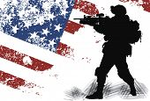 stock photo of rifle  - US soldier with the American Flag on the background - JPG