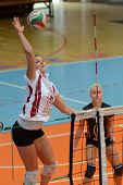 KAPOSVAR, HUNGARY - OCTOBER 7: Timea Kondor (L) in action at the Hungarian I. League volleyball game