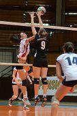 KAPOSVAR, HUNGARY - OCTOBER 7: Zsofia Harmath (L) in action at the Hungarian I. League volleyball ga