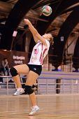 BUDAPEST, HUNGARY - OCTOBER 10: Zsanett Pinter in action at the Hungarian I. League volleyball game