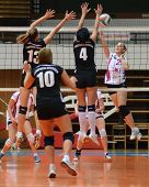 KAPOSVAR, HUNGARY - OCTOBER 7: Zsanett Pinter (R) in action at the Hungarian I. League volleyball ga