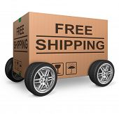 free shipping or package delivery order web shop shipment in cardboard box icon for online shopping