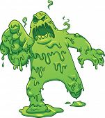 Cartoon toxic monster. Vector clip art illustration with simple gradients. All in a single layer.