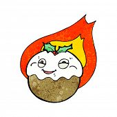 flaming christmas pudding cartoon