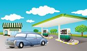 Illustration of a gas station