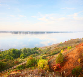 image of kama  - Autumn calm river Kama at sunrise - JPG