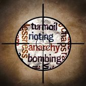 foto of mayhem  - Close up of Rioting anarchy bombing text - JPG