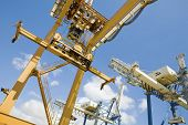 Low angle view of dockside cranes used for unloading container ships at Limassol Cyprus