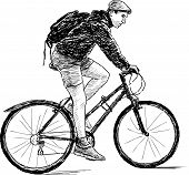 Young Man On Bicycle.eps
