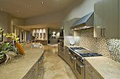 image of tile  - Open plan kitchen with living room in modern house - JPG