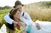 image of heterosexual couple  - Happy couple on wedding day - JPG