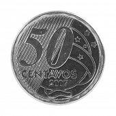 Moeda de 50 centavos de real brasileiro isolada