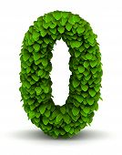 Number 0, green leaves font