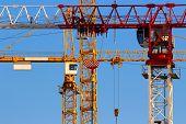 Tower cranes closeup