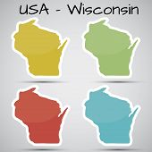 stickers in form of Wisconsin state, USA