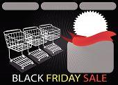 Drei Shopping Carts und Banner auf schwarzen Freitag-Hintergrund